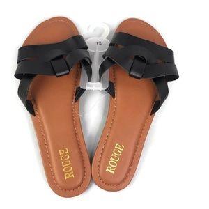 Rouge Womens Slide Flat Black Slip On Sandal